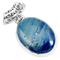 Natural blue swedish slag 925 sterling silver pendant jewelry m79930