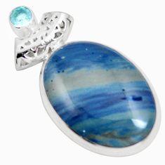 Natural blue swedish slag topaz 925 sterling silver pendant m79931