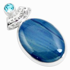 Natural blue swedish slag topaz 925 sterling silver pendant m79932