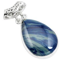 925 sterling silver natural blue swedish slag pear pendant jewelry m79933