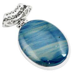 Natural blue swedish slag 925 sterling silver pendant jewelry m79935