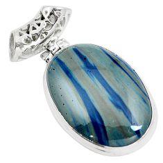 Natural blue swedish slag 925 sterling silver pendant jewelry m79936