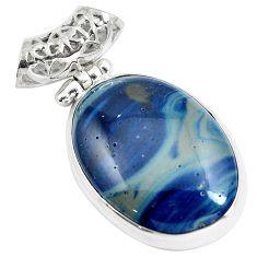 Natural blue swedish slag 925 sterling silver pendant jewelry m79937