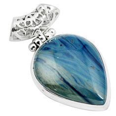 925 sterling silver natural blue swedish slag pear pendant jewelry m79939