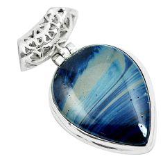 Natural blue swedish slag 925 sterling silver pendant jewelry m79940