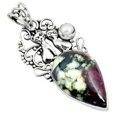 925 sterling silver natural pink eudialyte pearl two cats pendant m79989