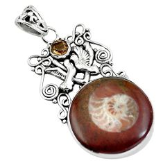 Natural brown ammonite fossil 925 silver love birds pendant jewelry m80053