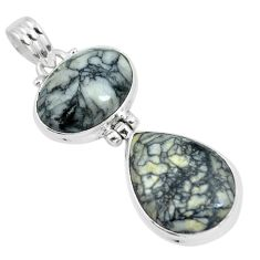 Natural white pinolith 925 sterling silver pendant jewelry m80080