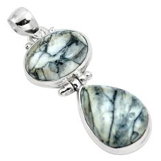 Natural white pinolith 925 sterling silver pendant jewelry m80099