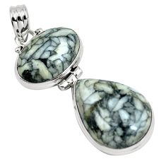 Natural white pinolith 925 sterling silver pendant jewelry m80100