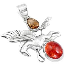 Natural orange sunstone (hematite feldspar) 925 silver unicorn pendant m80107