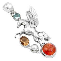 Natural orange sunstone (hematite feldspar) 925 silver unicorn pendant m80113