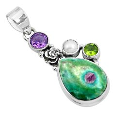 Natural pink ruby in fuchsite amethyst 925 silver pendant jewelry m80142