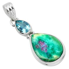 Natural pink ruby in fuchsite topaz 925 sterling silver pendant m80146