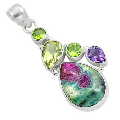 Natural pink ruby in fuchsite peridot 925 sterling silver pendant m80154
