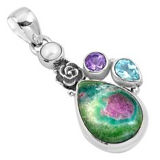 Natural pink ruby in fuchsite amethyst 925 silver flower pendant m80155