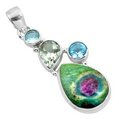925 sterling silver natural pink ruby in fuchsite amethyst pendant m80156