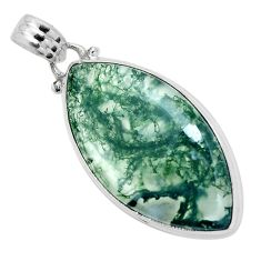 Natural green moss agate 925 sterling silver pendant jewelry m80187