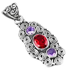 Natural red garnet amethyst 925 sterling silver pendant jewelry m80659