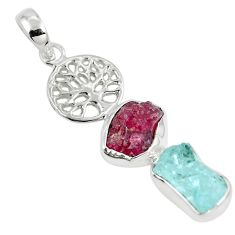 Natural pink ruby rough aquamarine silver tree of life pendant jewelry m80843