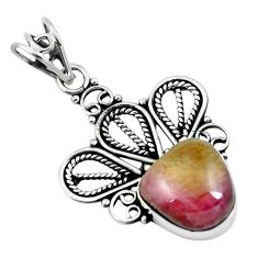 Natural pink bio tourmaline 925 sterling silver pendant jewelry m81307
