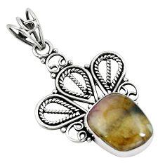 Natural pink bio tourmaline 925 sterling silver pendant jewelry m81317