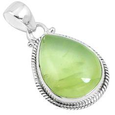 Natural green prehnite 925 sterling silver pendant jewelry m82196