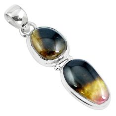 Natural black bio tourmaline 925 sterling silver pendant jewelry m82234