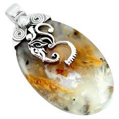 Natural scenic russian dendritic agate pearl 925 silver pendant m83322