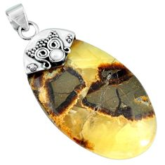 Natural brown septarian gonads pearl 925 sterling silver pendant m83351