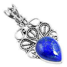 Natural blue lapis lazuli 925 sterling silver pendant jewelry m83686