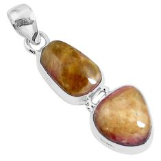 Natural pink bio tourmaline 925 sterling silver pendant jewelry m83782