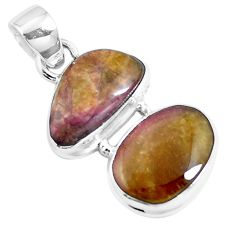 925 sterling silver natural pink bio tourmaline pendant jewelry m83784