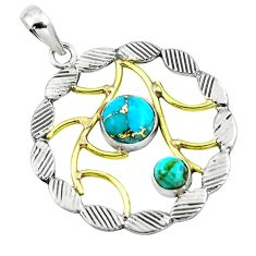 Blue copper turquoise 925 sterling silver two tone pendant m84405