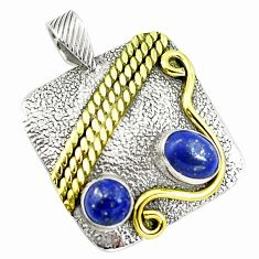 Natural blue lapis lazuli 925 sterling silver two tone pendant m84487