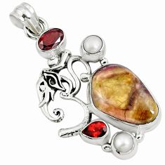 925 sterling silver natural pink bio tourmaline red garnet pendant m84535