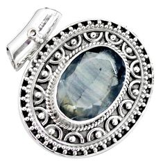 12.60cts natural faceted fluorite 925 sterling silver pendant jewelry m84707