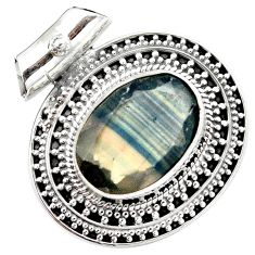 12.64cts natural faceted fluorite 925 sterling silver pendant jewelry m84722