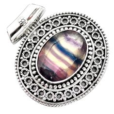 13.57cts natural faceted fluorite 925 sterling silver pendant jewelry m84725