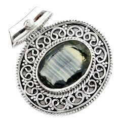 11.54cts natural faceted fluorite 925 sterling silver pendant jewelry m84730