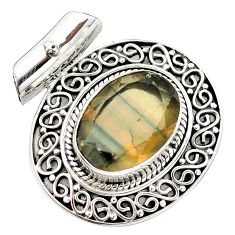 13.23cts natural faceted fluorite 925 sterling silver pendant jewelry m84737