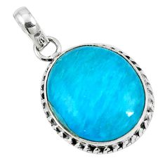 Blue smithsonite oval 925 sterling silver pendant jewelry m85556