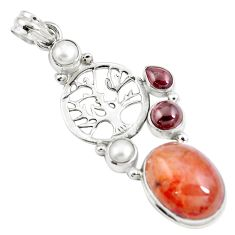Natural orange blood quartz 925 silver tree of life pendant m85766
