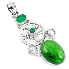 16.93cts natural green chrome diopside 925 silver tree of life pendant m85887