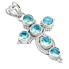 5.38cts natural blue topaz 925 sterling silver holy cross pendant jewelry m87195