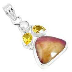 Natural pink bio tourmaline citrine 925 sterling silver pendant m87425