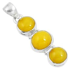 9.86cts natural yellow amber bone 925 sterling silver pendant jewelry m87661