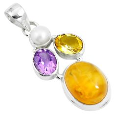 15.02cts natural yellow amber bone amethyst 925 sterling silver pendant m87667