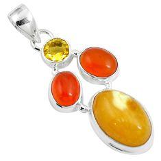 12.36cts natural yellow amber bone cornelian 925 silver pendant m87669