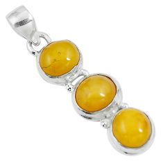 10.32cts natural yellow amber bone 925 sterling silver pendant m87670